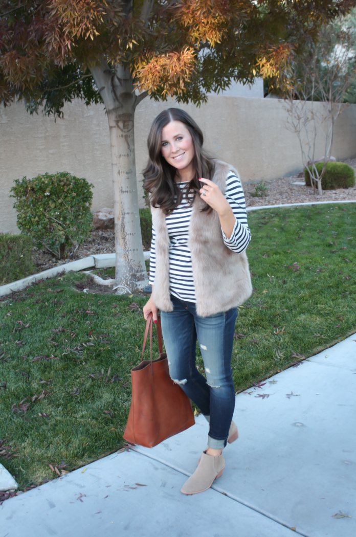 Light Brown Faux Fur Vest, Navy Striped Tee, Distressed Straight Leg Jeans, Tan Suede Booties, Joie, J.Crew, Rag and Bone, Madewell 5