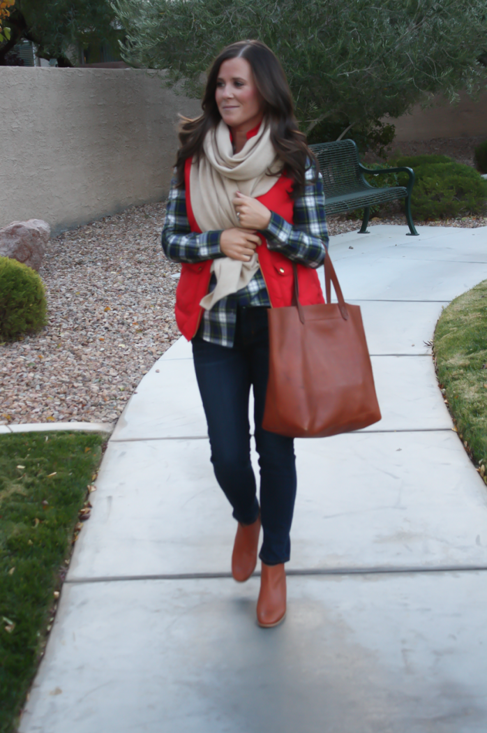 Red Quilted Vest, Green and Navy Plaid Shirt, Beige Cashmere Scarf, Dark RInse Cropped Jeans, Cognac Booties, Cognac Tote, J.Crew, Current Elliott, Rachel Comey, Madewell 12