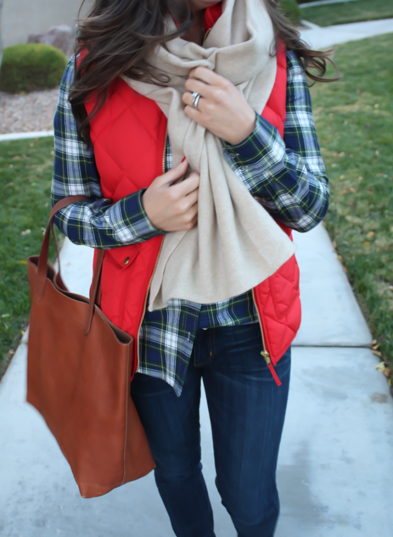 Red Quilted Vest, Green and Navy Plaid Shirt, Beige Cashmere Scarf, Dark RInse Cropped Jeans, Cognac Booties, Cognac Tote, J.Crew, Current Elliott, Rachel Comey, Madewell 15