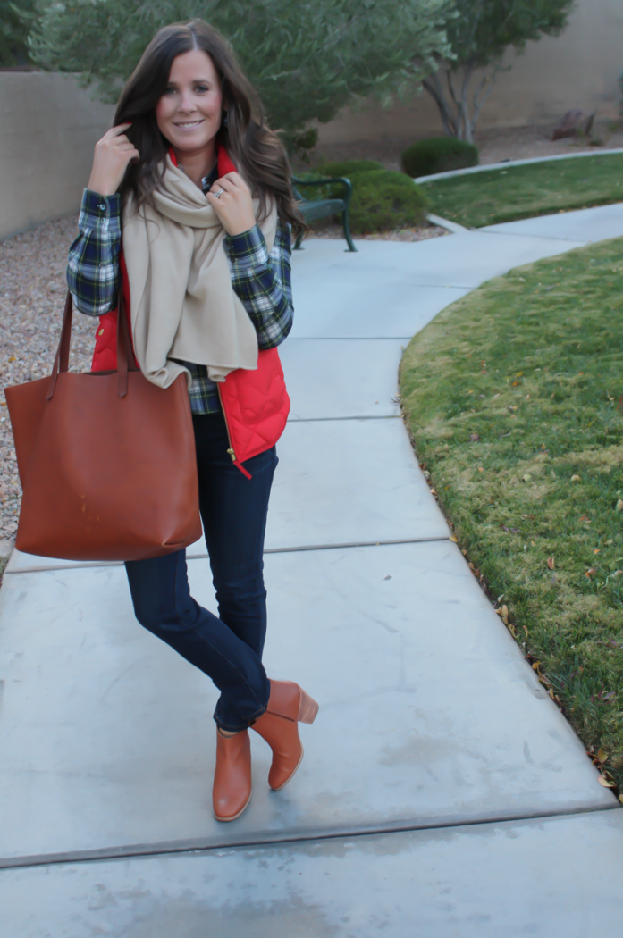 Red Quilted Vest, Green and Navy Plaid Shirt, Beige Cashmere Scarf, Dark RInse Cropped Jeans, Cognac Booties, Cognac Tote, J.Crew, Current Elliott, Rachel Comey, Madewell 2