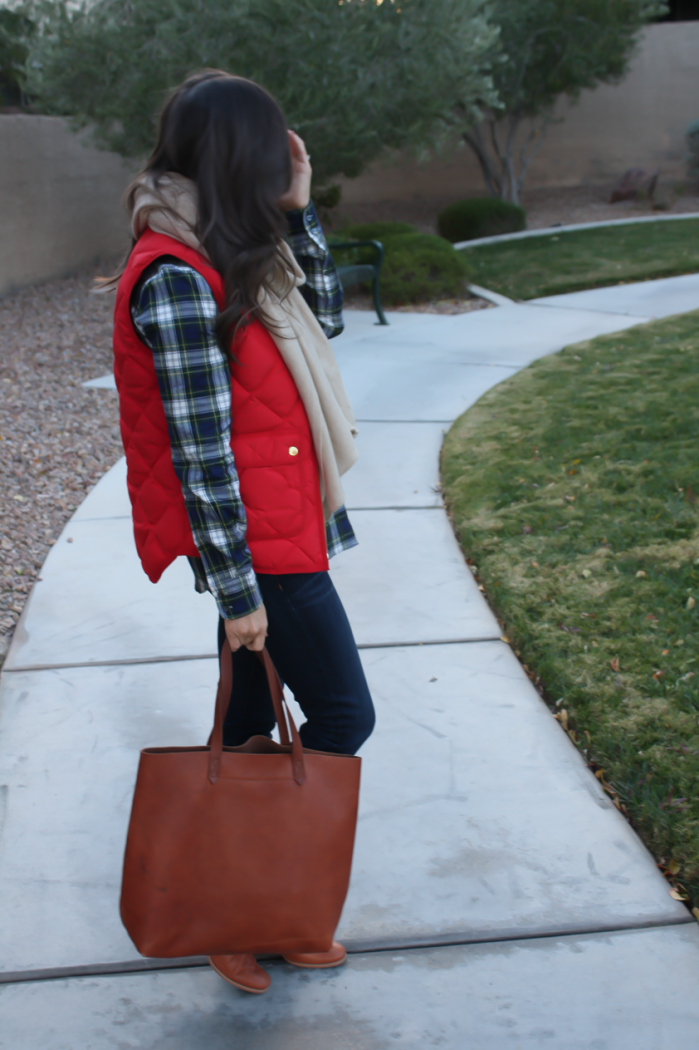Red Quilted Vest, Green and Navy Plaid Shirt, Beige Cashmere Scarf, Dark RInse Cropped Jeans, Cognac Booties, Cognac Tote, J.Crew, Current Elliott, Rachel Comey, Madewell 3
