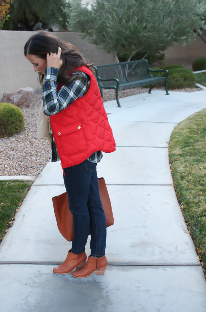 Red Quilted Vest, Green and Navy Plaid Shirt, Beige Cashmere Scarf, Dark RInse Cropped Jeans, Cognac Booties, Cognac Tote, J.Crew, Current Elliott, Rachel Comey, Madewell 5