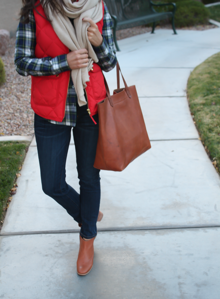 Red Quilted Vest, Green and Navy Plaid Shirt, Beige Cashmere Scarf, Dark RInse Cropped Jeans, Cognac Booties, Cognac Tote, J.Crew, Current Elliott, Rachel Comey, Madewell 6