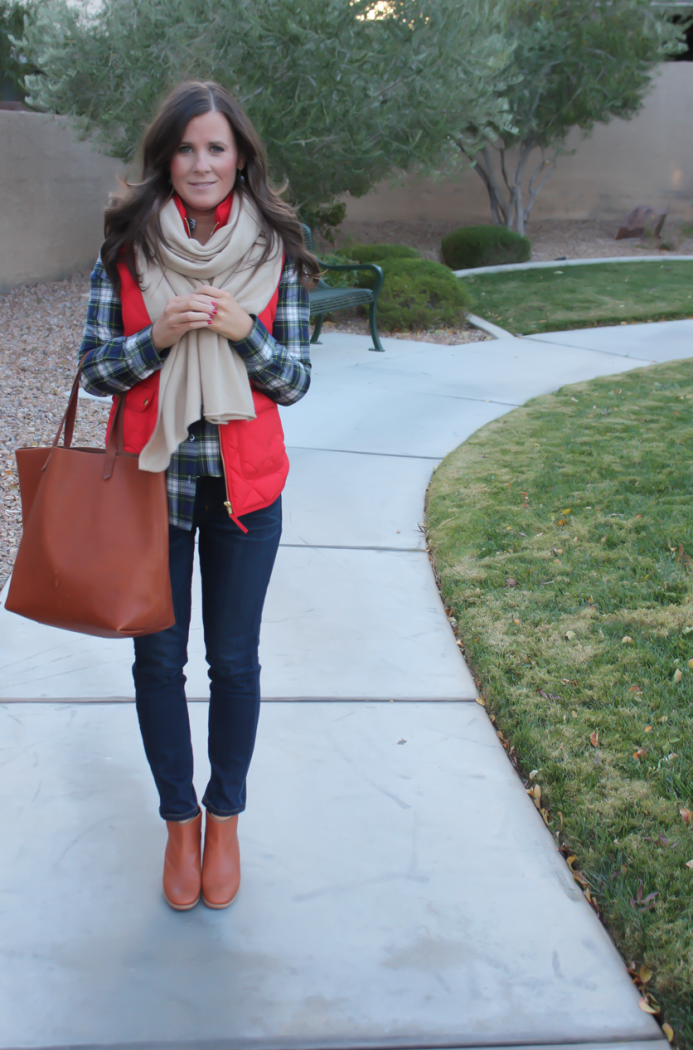 Red Quilted Vest, Green and Navy Plaid Shirt, Beige Cashmere Scarf, Dark RInse Cropped Jeans, Cognac Booties, Cognac Tote, J.Crew, Current Elliott, Rachel Comey, Madewell