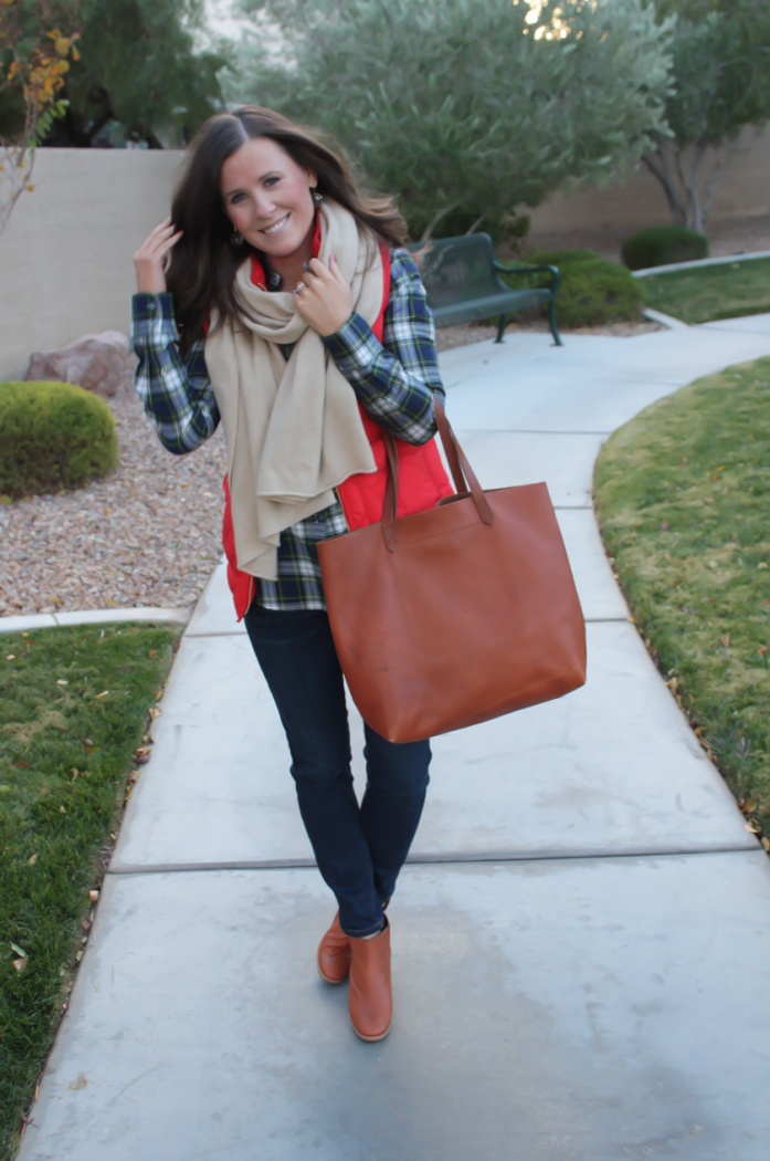 Red Quilted Vest, Green and Navy Plaid Shirt, Beige Cashmere Scarf, Dark RInse Cropped Jeans, Cognac Booties, Cognac Tote, J.Crew, Current Elliott, Rachel Comey, Madewell 7