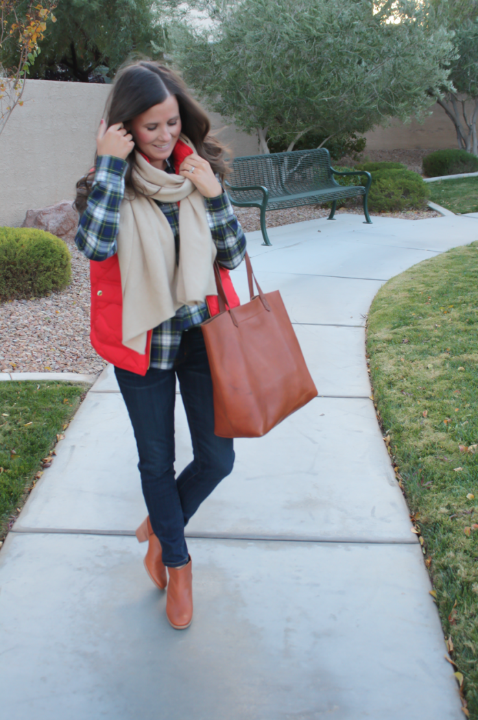 Red Quilted Vest, Green and Navy Plaid Shirt, Beige Cashmere Scarf, Dark RInse Cropped Jeans, Cognac Booties, Cognac Tote, J.Crew, Current Elliott, Rachel Comey, Madewell 8