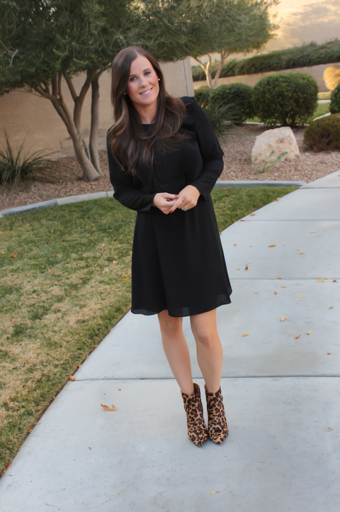 Black Bib Dress, Leopard Booties, Black Faux Fur Dress, Nordstrom, CeCe by Cynthia Steffe, Topshop, Joie 2