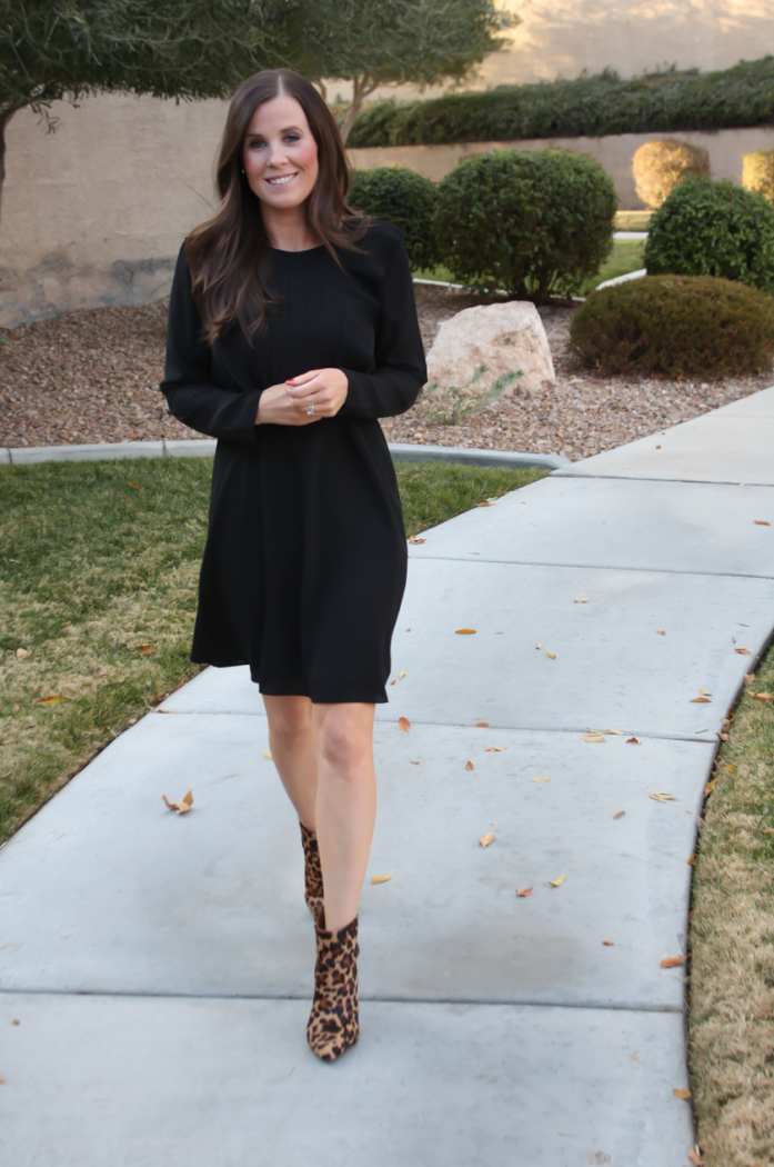 Black Bib Dress, Leopard Booties, Black Faux Fur Dress, Nordstrom, CeCe by Cynthia Steffe, Topshop, Joie 4