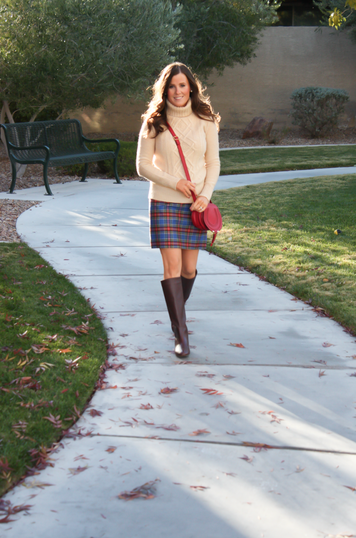 Blue Plaid Mini Skirt, Tan Turtleneck Sweater, Tall Brown Boots, Red Crossbody, J.Crew Factory, J.Crew, Loeffler Randall, Chloe 11