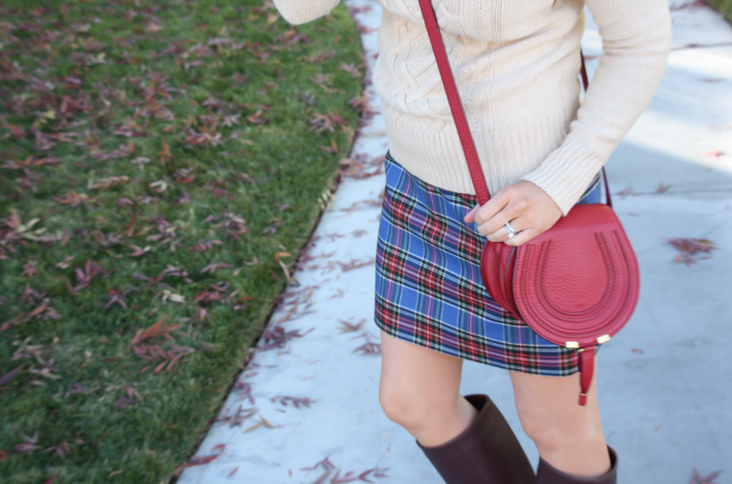 Blue Plaid Mini Skirt, Tan Turtleneck Sweater, Tall Brown Boots, Red Crossbody, J.Crew Factory, J.Crew, Loeffler Randall, Chloe 12