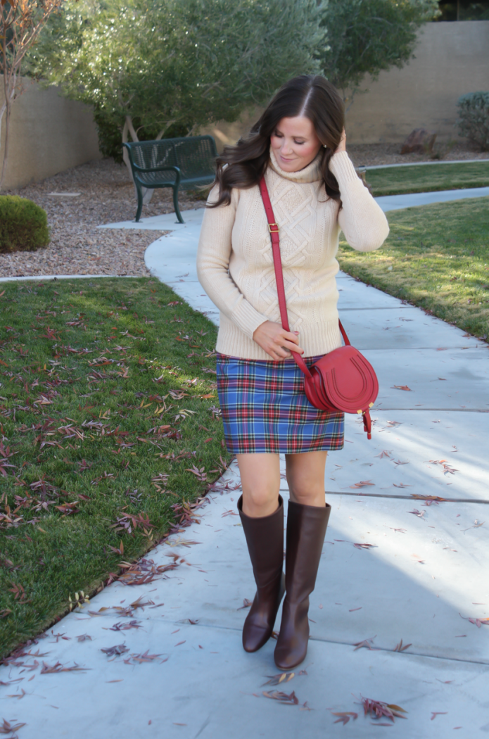Blue Plaid Mini Skirt, Tan Turtleneck Sweater, Tall Brown Boots, Red Crossbody, J.Crew Factory, J.Crew, Loeffler Randall, Chloe 3