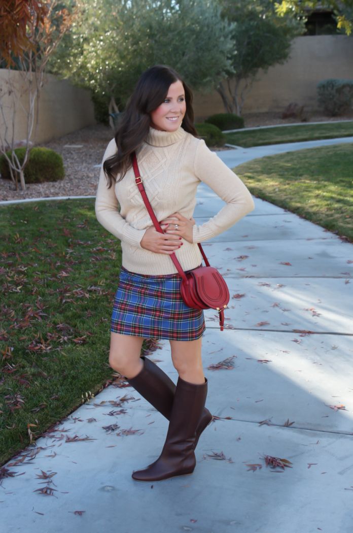 Blue Plaid Mini Skirt, Tan Turtleneck Sweater, Tall Brown Boots, Red Crossbody, J.Crew Factory, J.Crew, Loeffler Randall, Chloe 4
