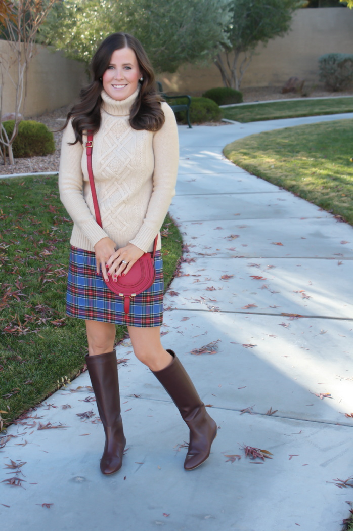 Blue Plaid Mini Skirt, Tan Turtleneck Sweater, Tall Brown Boots, Red Crossbody, J.Crew Factory, J.Crew, Loeffler Randall, Chloe 6