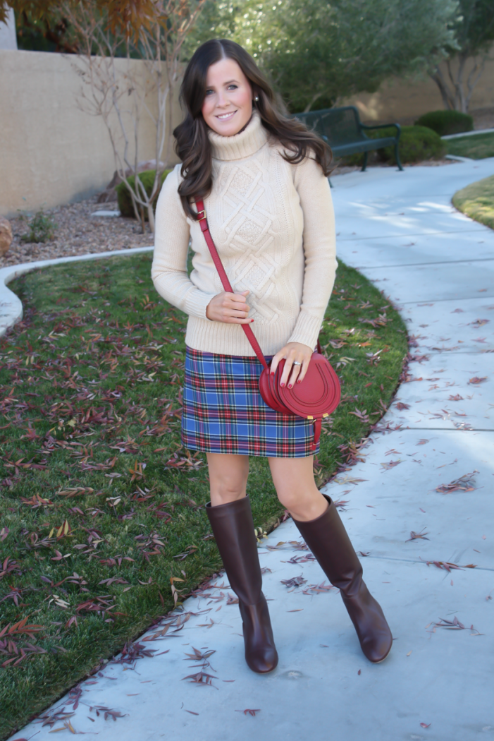 Blue Plaid Mini Skirt, Tan Turtleneck Sweater, Tall Brown Boots, Red Crossbody, J.Crew Factory, J.Crew, Loeffler Randall, Chloe 7