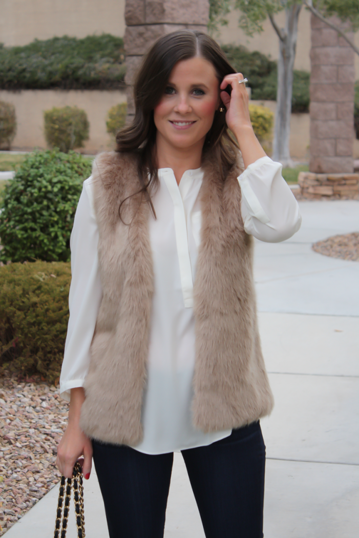 Brown Faux Fur Vest, Ivory Tunic Blouse, Dark Rinse Cropped Skinny Jeans, Ivory Heels, Black Chain Strap Bag, Nordstrom, Joie, NYDJ Blouse, Paige Jeans, JCrew, Chanel 2