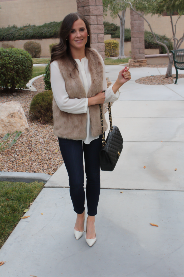 Brown Faux Fur Vest, Ivory Tunic Blouse, Dark Rinse Cropped Skinny Jeans, Ivory Heels, Black Chain Strap Bag, Nordstrom, Joie, NYDJ Blouse, Paige Jeans, JCrew, Chanel 4
