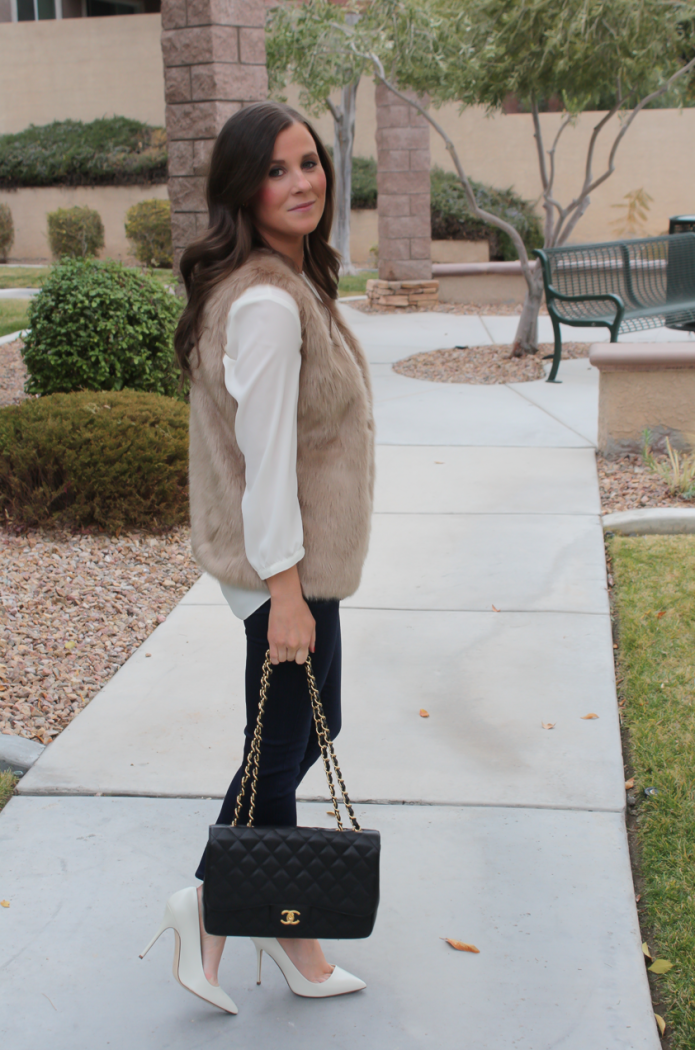 Brown Faux Fur Vest, Ivory Tunic Blouse, Dark Rinse Cropped Skinny Jeans, Ivory Heels, Black Chain Strap Bag, Nordstrom, Joie, NYDJ Blouse, Paige Jeans, JCrew, Chanel 5