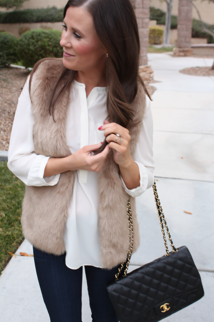 Brown Faux Fur Vest, Ivory Tunic Blouse, Dark Rinse Cropped Skinny Jeans, Ivory Heels, Black Chain Strap Bag, Nordstrom, Joie, NYDJ Blouse, Paige Jeans, JCrew, Chanel 7