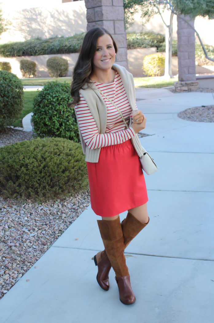 Brown Leather and Suede Over the Knee :boot, Red Mini Skirt, Red Striped Long Sleeve Tee, Tan Cashmere Turtleneck Sweater, Ivory Chain Strap Bag, Naturalizer Boots, J.Crew Factory, J.Crew, Tory Burch 11
