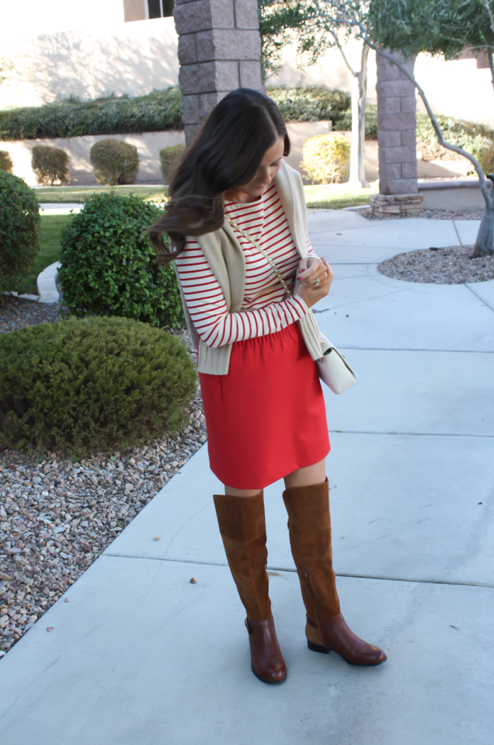 Brown Leather and Suede Over the Knee :boot, Red Mini Skirt, Red Striped Long Sleeve Tee, Tan Cashmere Turtleneck Sweater, Ivory Chain Strap Bag, Naturalizer Boots, J.Crew Factory, J.Crew, Tory Burch 12