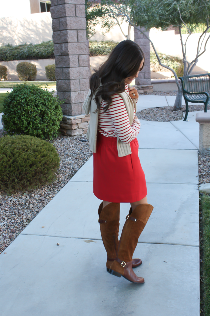 Brown Leather and Suede Over the Knee :boot, Red Mini Skirt, Red Striped Long Sleeve Tee, Tan Cashmere Turtleneck Sweater, Ivory Chain Strap Bag, Naturalizer Boots, J.Crew Factory, J.Crew, Tory Burch 14