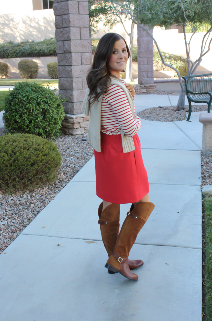 Brown Leather and Suede Over the Knee :boot, Red Mini Skirt, Red Striped Long Sleeve Tee, Tan Cashmere Turtleneck Sweater, Ivory Chain Strap Bag, Naturalizer Boots, J.Crew Factory, J.Crew, Tory Burch 15