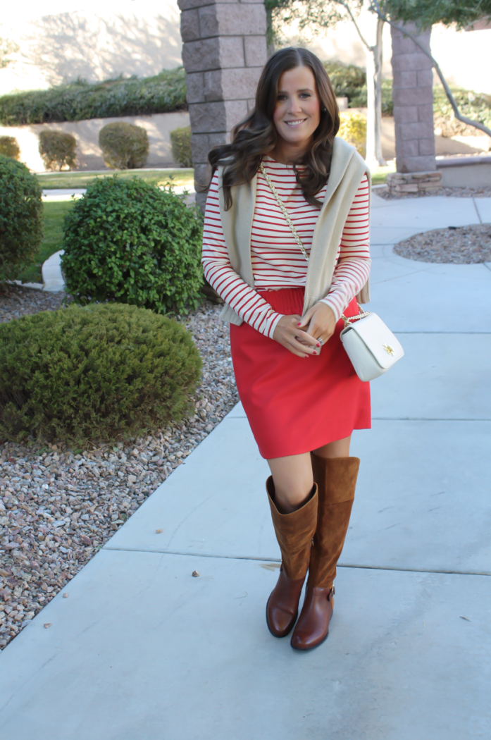 Brown Leather and Suede Over the Knee :boot, Red Mini Skirt, Red Striped Long Sleeve Tee, Tan Cashmere Turtleneck Sweater, Ivory Chain Strap Bag, Naturalizer Boots, J.Crew Factory, J.Crew, Tory Burch 16