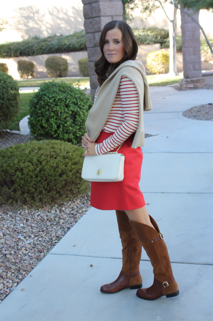 Brown Leather and Suede Over the Knee :boot, Red Mini Skirt, Red Striped Long Sleeve Tee, Tan Cashmere Turtleneck Sweater, Ivory Chain Strap Bag, Naturalizer Boots, J.Crew Factory, J.Crew, Tory Burch 17