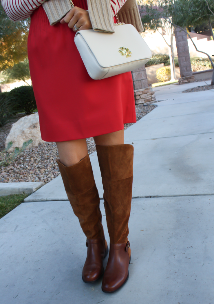 Brown Leather and Suede Over the Knee :boot, Red Mini Skirt, Red Striped Long Sleeve Tee, Tan Cashmere Turtleneck Sweater, Ivory Chain Strap Bag, Naturalizer Boots, J.Crew Factory, J.Crew, Tory Burch 28