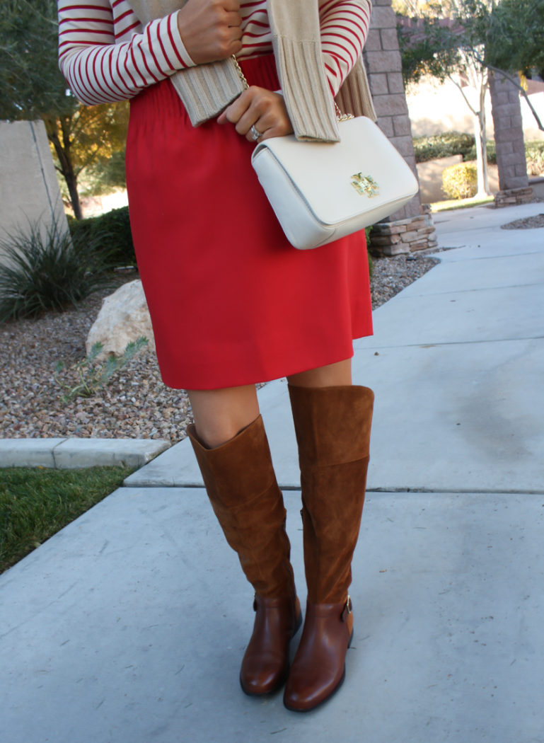 Brown Leather and Suede Over the Knee :boot, Red Mini Skirt, Red Striped Long Sleeve Tee, Tan Cashmere Turtleneck Sweater, Ivory Chain Strap Bag, Naturalizer Boots, J.Crew Factory, J.Crew, Tory Burch 29