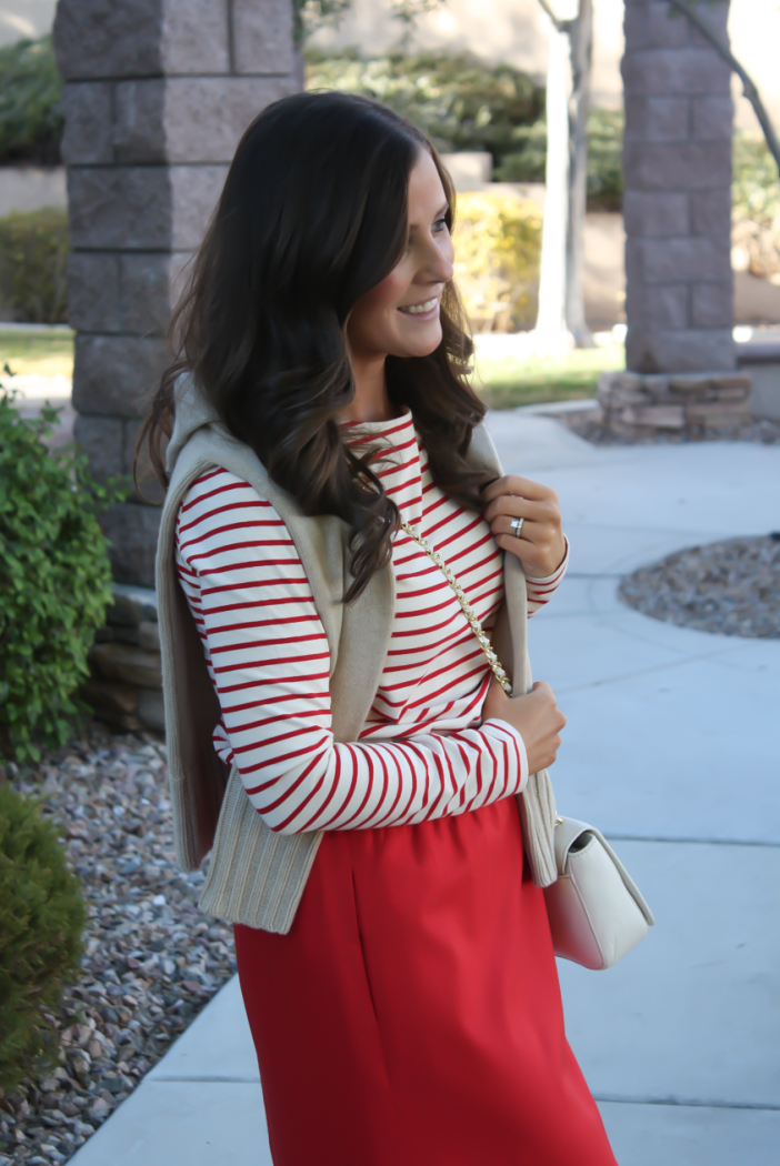Brown Leather and Suede Over the Knee :boot, Red Mini Skirt, Red Striped Long Sleeve Tee, Tan Cashmere Turtleneck Sweater, Ivory Chain Strap Bag, Naturalizer Boots, J.Crew Factory, J.Crew, Tory Burch 3
