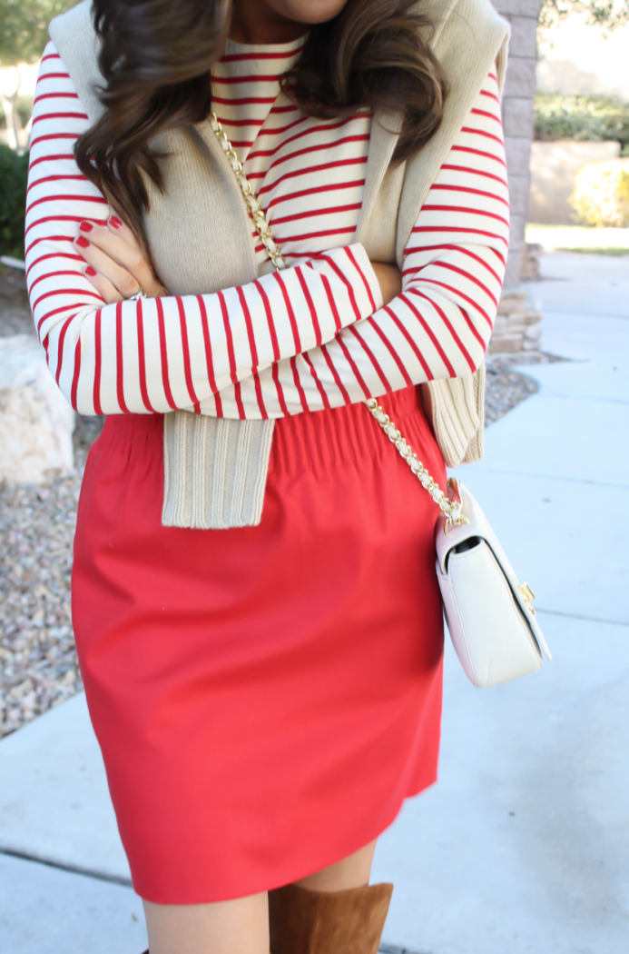 Brown Leather and Suede Over the Knee :boot, Red Mini Skirt, Red Striped Long Sleeve Tee, Tan Cashmere Turtleneck Sweater, Ivory Chain Strap Bag, Naturalizer Boots, J.Crew Factory, J.Crew, Tory Burch 30