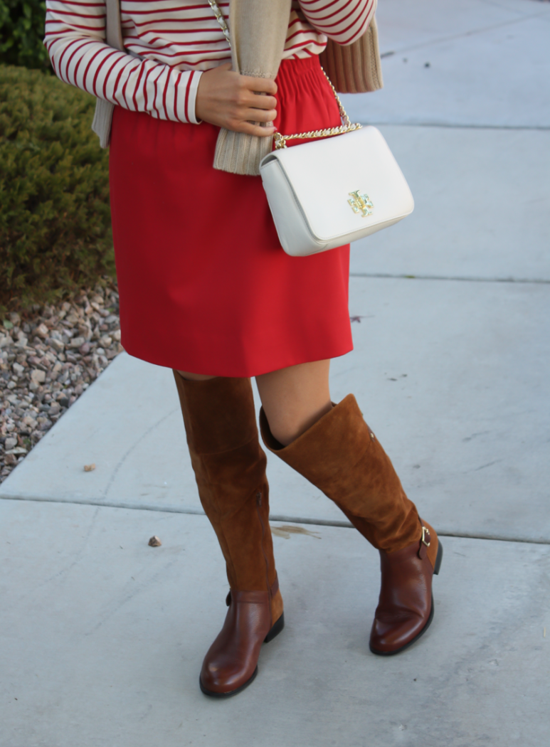 Brown Leather and Suede Over the Knee :boot, Red Mini Skirt, Red Striped Long Sleeve Tee, Tan Cashmere Turtleneck Sweater, Ivory Chain Strap Bag, Naturalizer Boots, J.Crew Factory, J.Crew, Tory Burch 4
