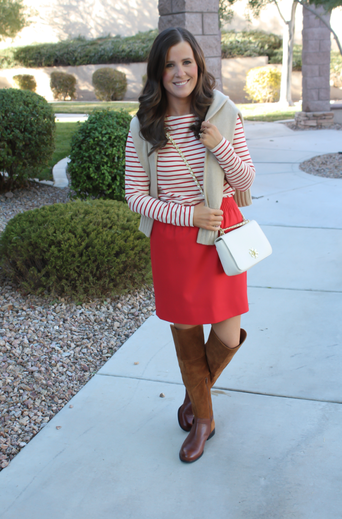 Brown Leather and Suede Over the Knee :boot, Red Mini Skirt, Red Striped Long Sleeve Tee, Tan Cashmere Turtleneck Sweater, Ivory Chain Strap Bag, Naturalizer Boots, J.Crew Factory, J.Crew, Tory Burch 6