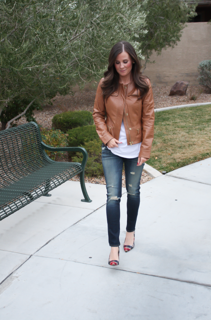 Caramel Leather Jacket, White Shirttail Tee, Distressed Skinny Jeans, Plaid Heels, Nordstrom, Halogen, BP, Rag and Bone, J.Crew 10