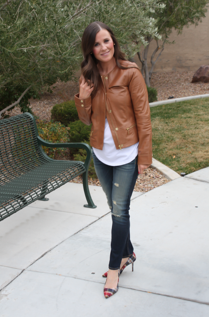 Caramel Leather Jacket, White Shirttail Tee, Distressed Skinny Jeans, Plaid Heels, Nordstrom, Halogen, BP, Rag and Bone, J.Crew 6