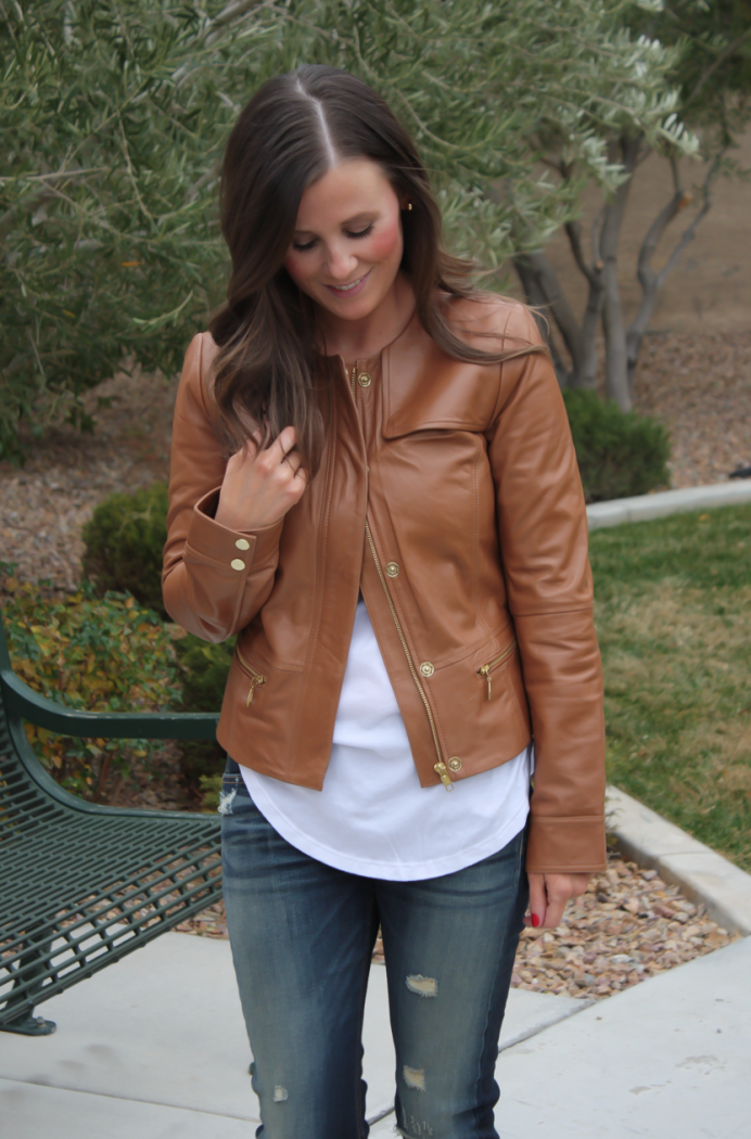 Caramel Leather Jacket, White Shirttail Tee, Distressed Skinny Jeans, Plaid Heels, Nordstrom, Halogen, BP, Rag and Bone, J.Crew 7