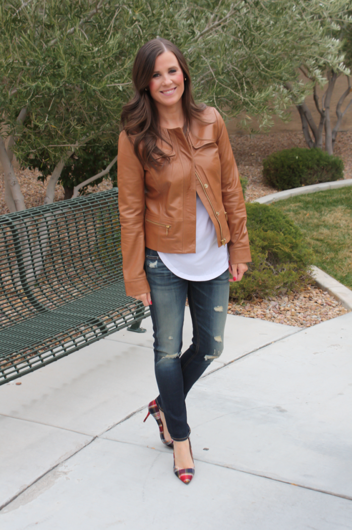 Caramel Leather Jacket, White Shirttail Tee, Distressed Skinny Jeans, Plaid Heels, Nordstrom, Halogen, BP, Rag and Bone, J.Crew