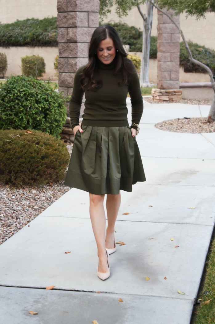 Green Cashmere Turtleneck Sweater, Green Satin Full Skirt, Beige Suede Heels, J.Crew, Banana Republic 11
