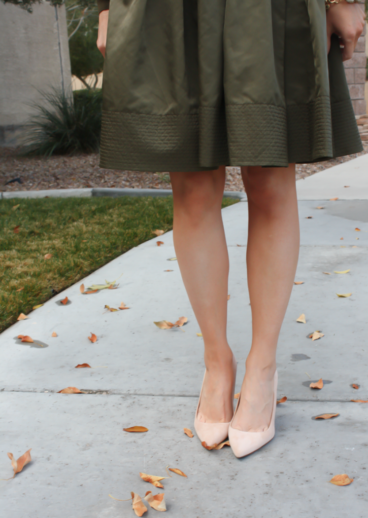 Green Cashmere Turtleneck Sweater, Green Satin Full Skirt, Beige Suede Heels, J.Crew, Banana Republic 13