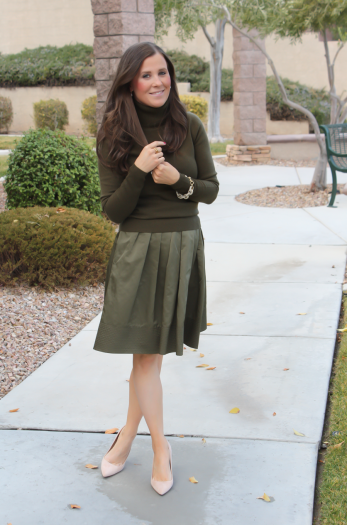 Green Cashmere Turtleneck Sweater, Green Satin Full Skirt, Beige Suede Heels, J.Crew, Banana Republic 17