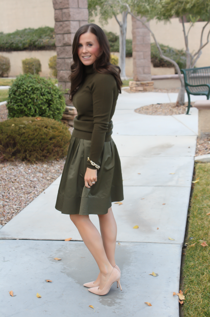 Green Cashmere Turtleneck Sweater, Green Satin Full Skirt, Beige Suede Heels, J.Crew, Banana Republic 18