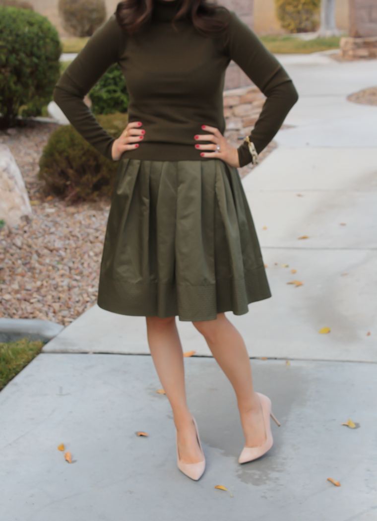 Green Cashmere Turtleneck Sweater, Green Satin Full Skirt, Beige Suede Heels, J.Crew, Banana Republic 19