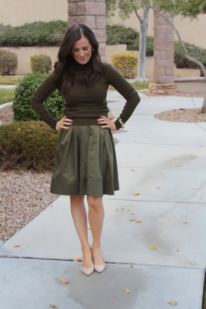 Green Cashmere Turtleneck Sweater, Green Satin Full Skirt, Beige Suede Heels, J.Crew, Banana Republic 2