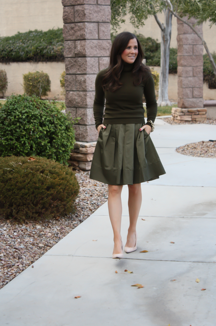 Green Cashmere Turtleneck Sweater, Green Satin Full Skirt, Beige Suede Heels, J.Crew, Banana Republic 20