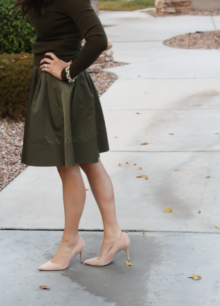 Green Cashmere Turtleneck Sweater, Green Satin Full Skirt, Beige Suede Heels, J.Crew, Banana Republic 5