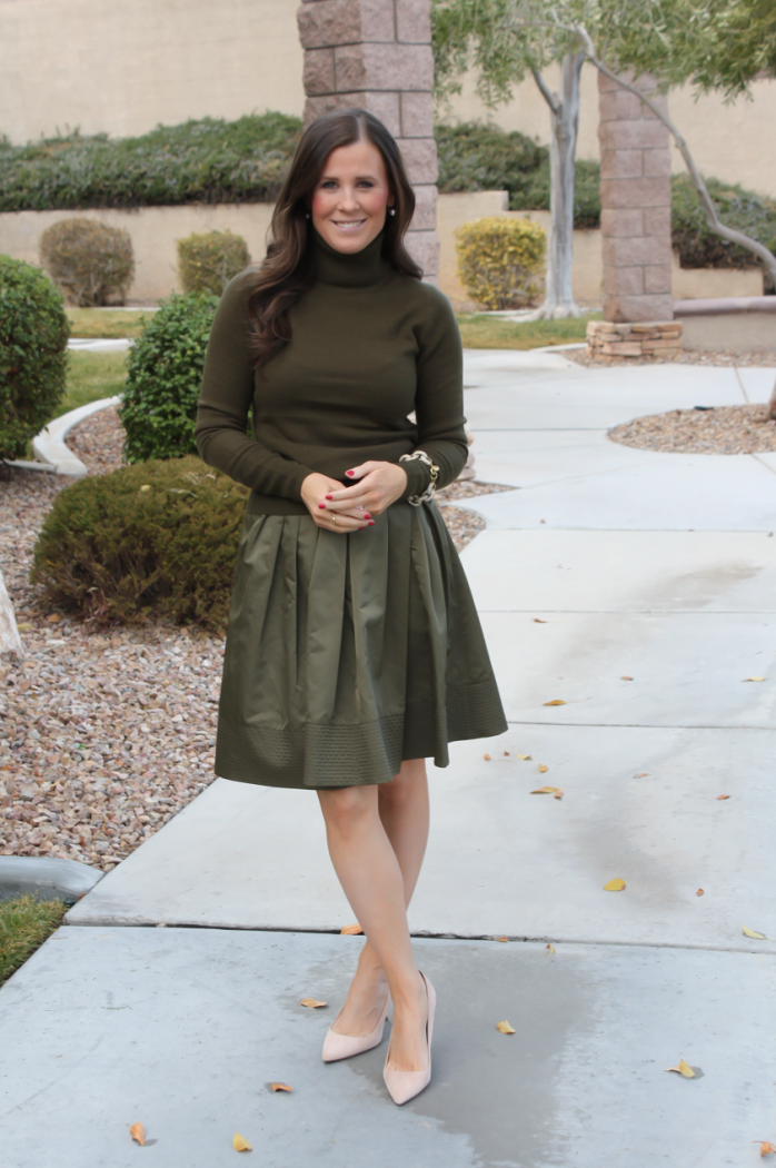 Green Cashmere Turtleneck Sweater, Green Satin Full Skirt, Beige Suede Heels, J.Crew, Banana Republic 6