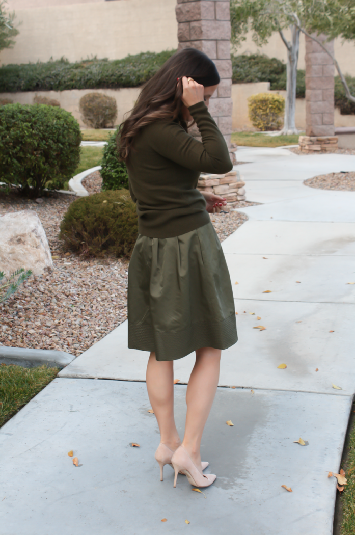 Green Cashmere Turtleneck Sweater, Green Satin Full Skirt, Beige Suede Heels, J.Crew, Banana Republic 8