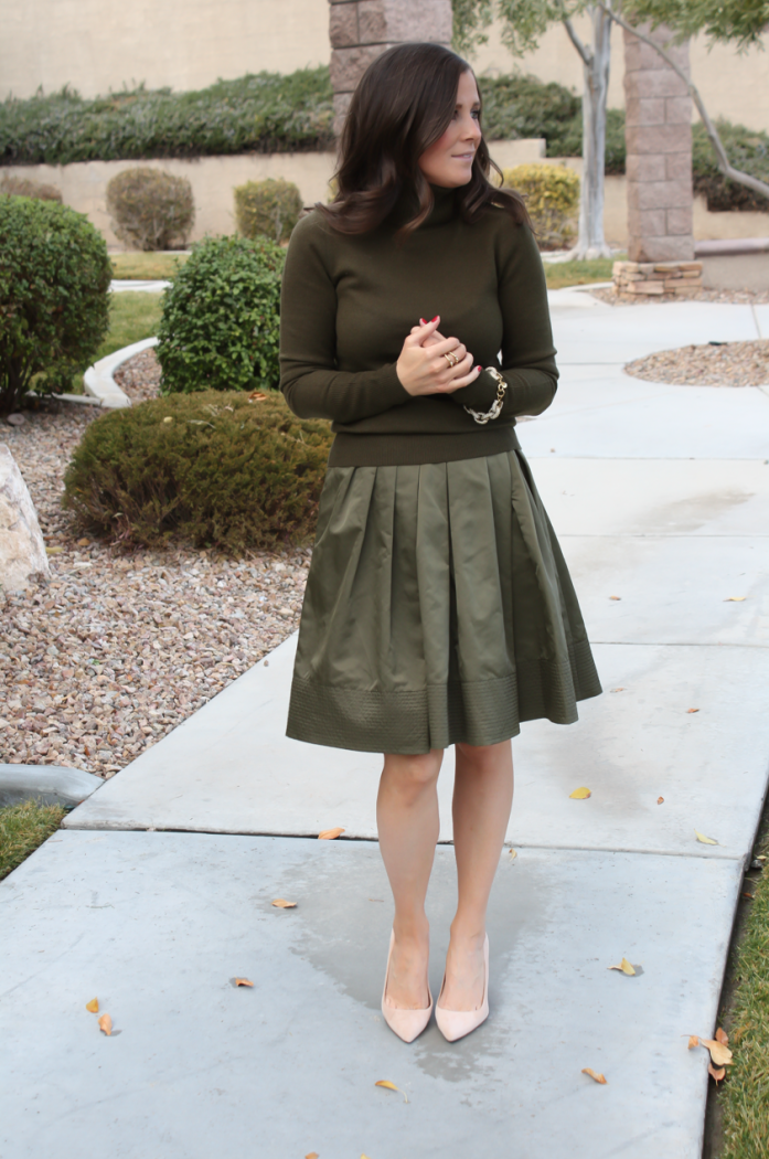 Green Cashmere Turtleneck Sweater, Green Satin Full Skirt, Beige Suede Heels, J.Crew, Banana Republic 9