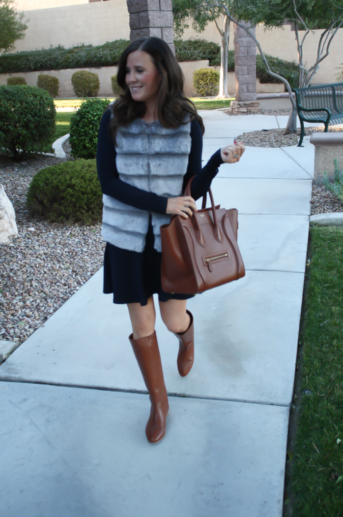 Grey Faux Fur Vest, Navy Ponte Knit Drop Waist Dress, Tall Brown Boots, Brown Leather Tote, Joie, Susana Monaco, Loeffler Randall, Celine 11